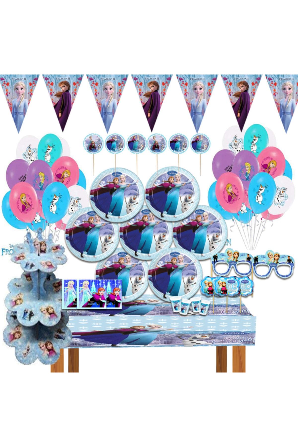 Kek Standlı Frozen Karlar Ülkesi Elsa Doğum Günü Parti Malzemeleri Süsleri Seti 8 Kişilik