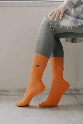 Adel Unisex Turuncu Muz Emojili Çorap 0