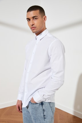 TRENDYOL MAN Beyaz Erkek Slim Fit Basic Gömlek Yaka Gömlek TMNSS21GO0476 2