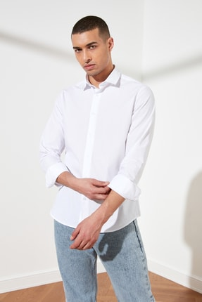 TRENDYOL MAN Beyaz Erkek Slim Fit Basic Gömlek Yaka Gömlek TMNSS21GO0476 0