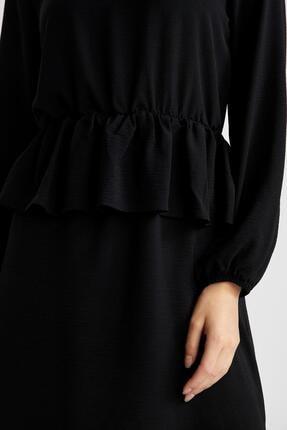 Defacto Bel Oturtmalı Volanlı Balon Kollu Dokuma Elbise 2