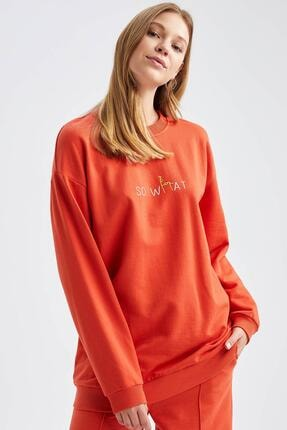 Defacto Yazı Baskılı Relax Fit Sweatshirt 4