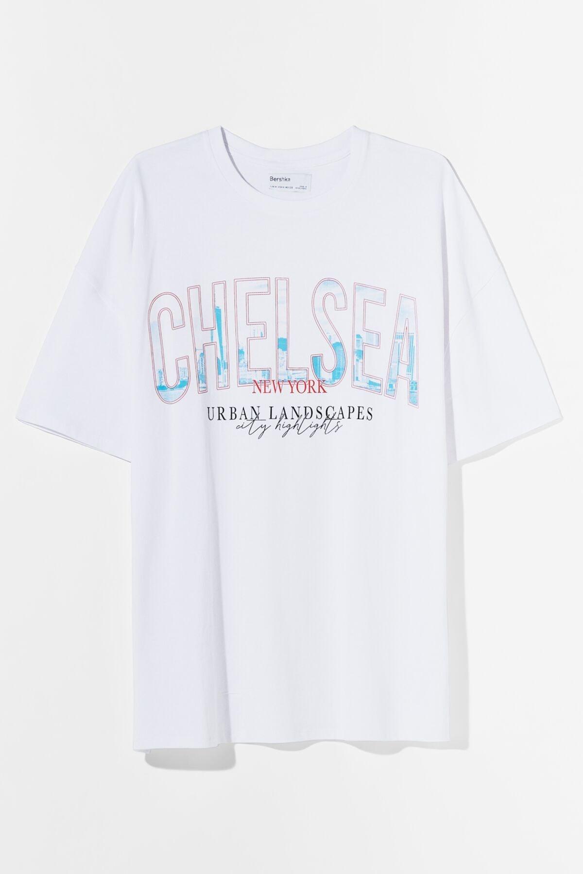 Bershka Kadın Beyaz Desenli Oversize T-Shirt 01971987 4