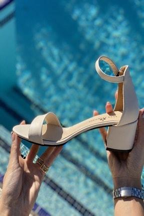 İnan Ayakkabı Kadın Bej Tek Bant Bilekli Topuklu Ayakkabı 3