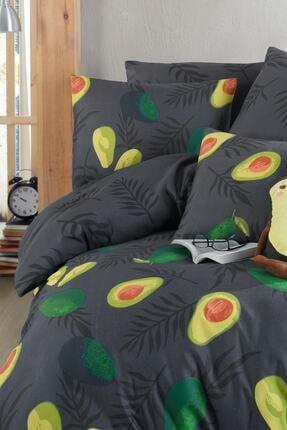 Fushia Avocado Dark %100 Pamuk Tek Kişilik Avakado Nevresim Takımı 2
