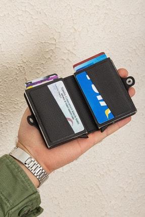 Leyl Çift Mekanizmalı Otomatik Kartlık Iki Gözlü Kredi Kartı Kartvizit Para Cüzdanı 3