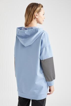 Defacto Kadın Mavi Renk Bloklu Kapüşonlu Kanguru Cepli Sweat Tunik 3