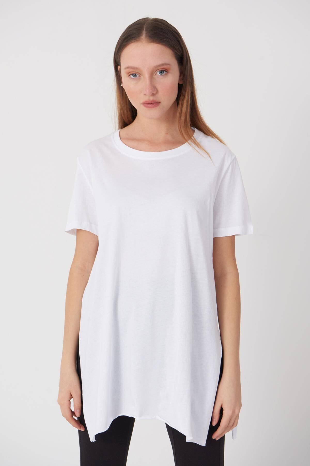 Addax Kadın Beyaz Bisiklet Yaka T-Shirt P0101 - U4 - Z1 Adx-00007204 1