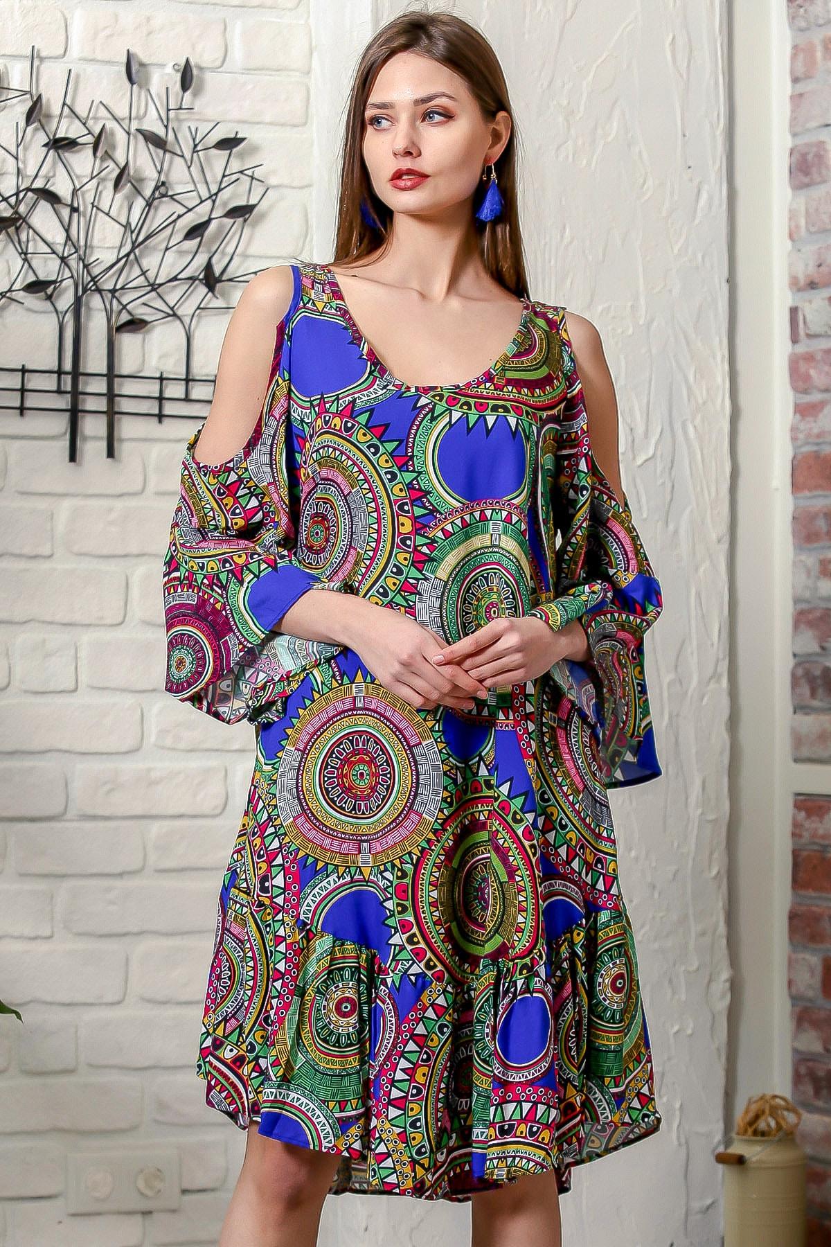 Kadın Saks Mavi Omuzları Pencereli Geometrik Desen Kolları Volanlı Salaş Elbise