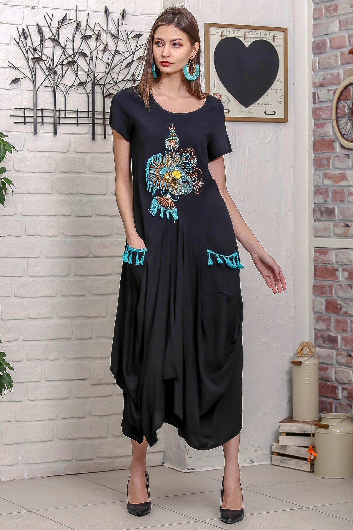 Chiccy Kadın Siyah Ottoman Yelpaze Nakışlı Cepleri Püsküllü Asimetrik Salaş Elbise 3
