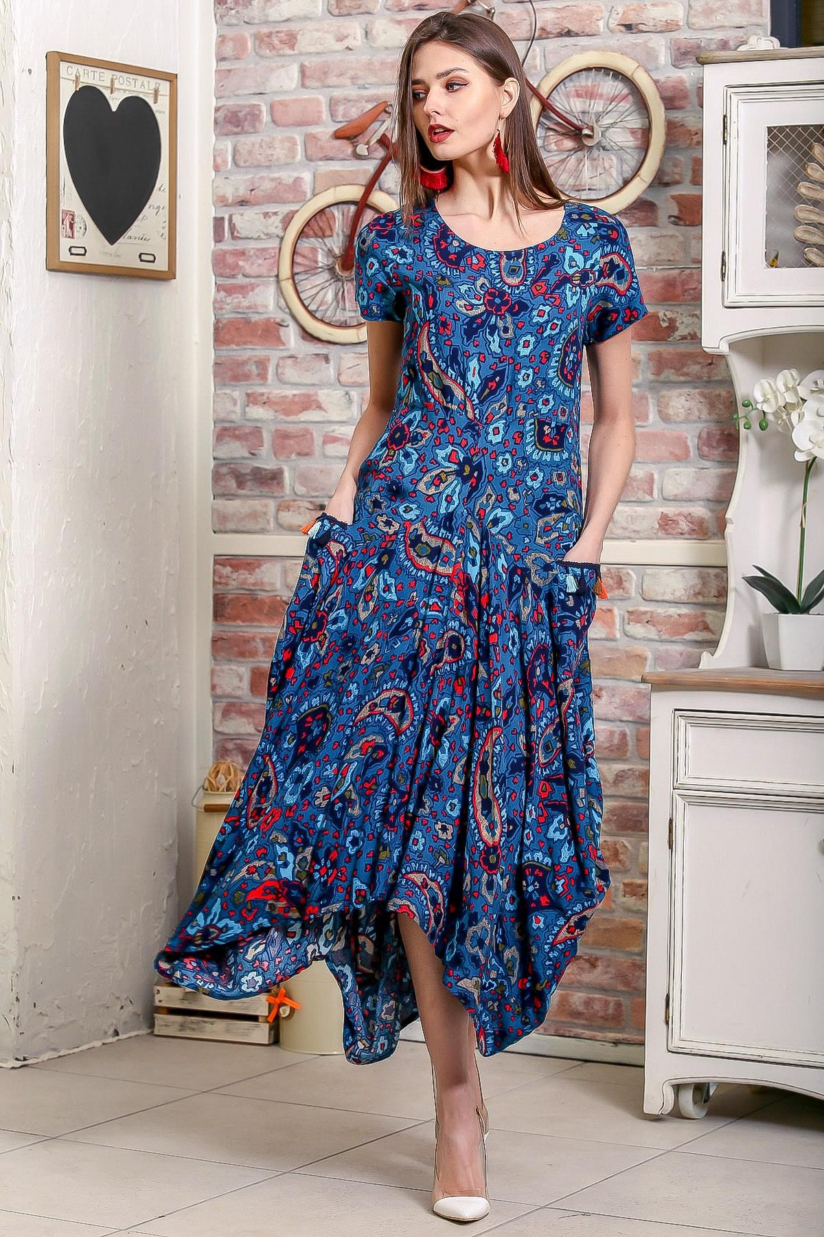 Chiccy Kadın Petrol Mavi Bohem Şal Desen Asimetrik Cepleri Püskül Detaylı Dokuma Elbise 1