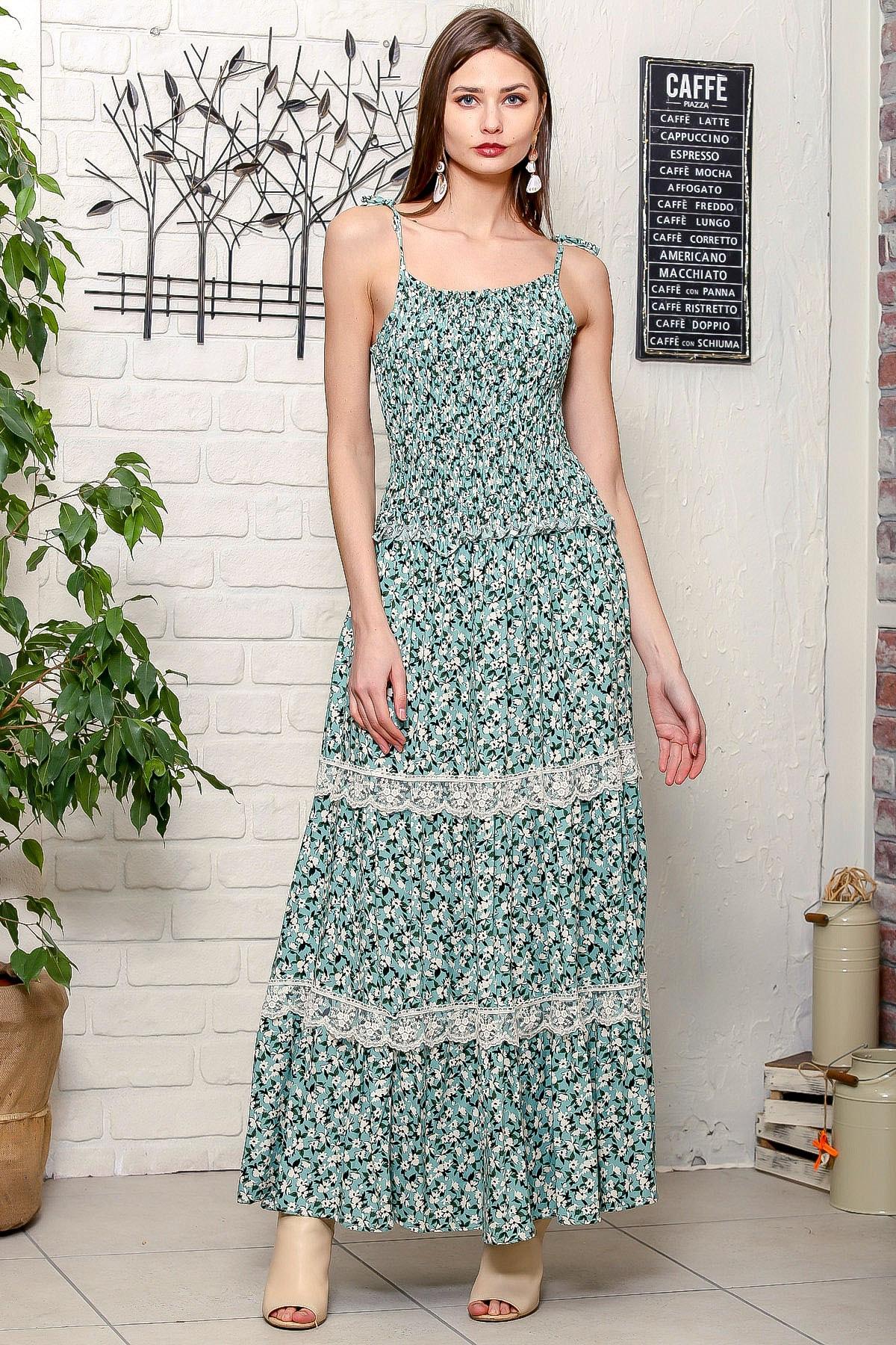 Kadın Yeşil İp Askılı Gipeli Çıtır Çiçek Desen Dantel Detaylı Kat Kat Uzun Dokuma Elbise