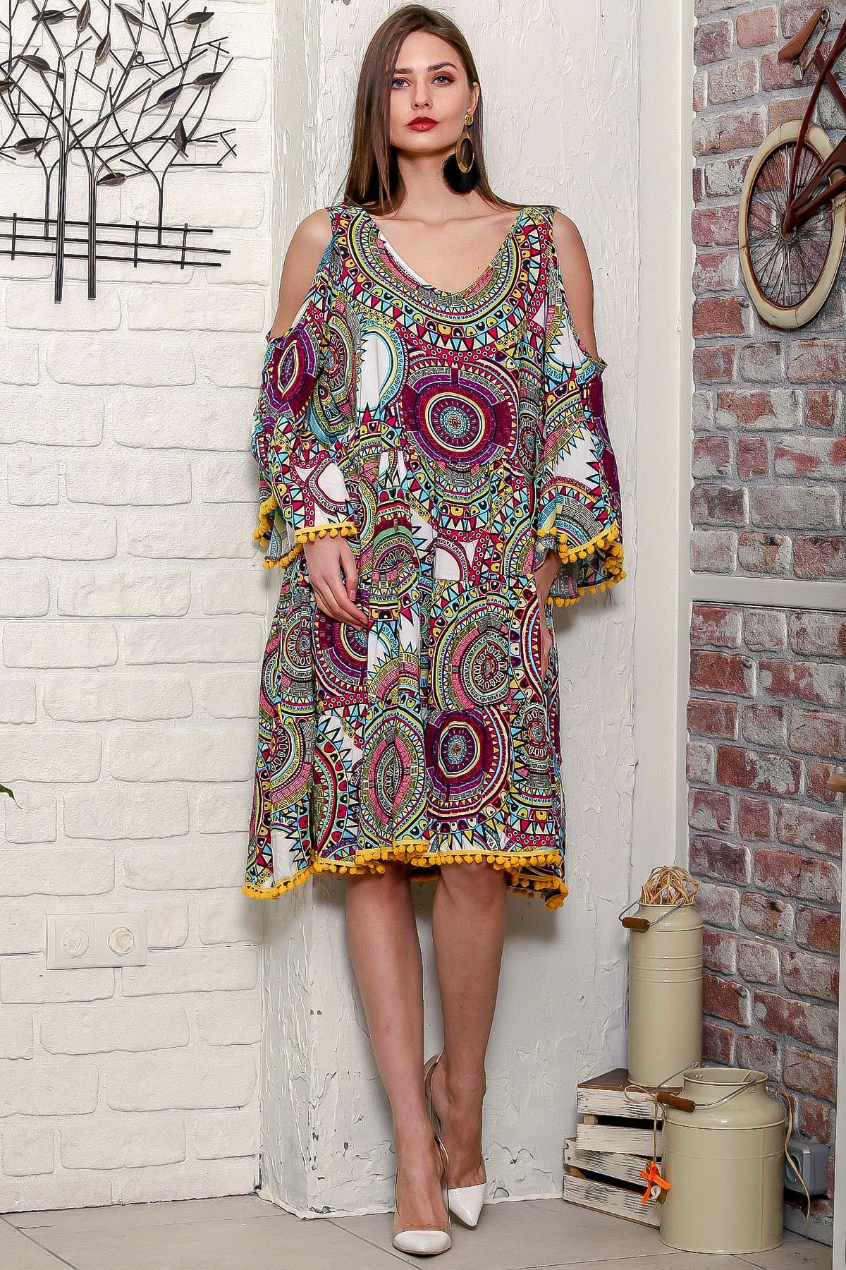 Chiccy Kadın Yeşil Omuzları Pencereli Geometrik Desen Kolları Volanlı Ponponlu Salaş Elbise 3