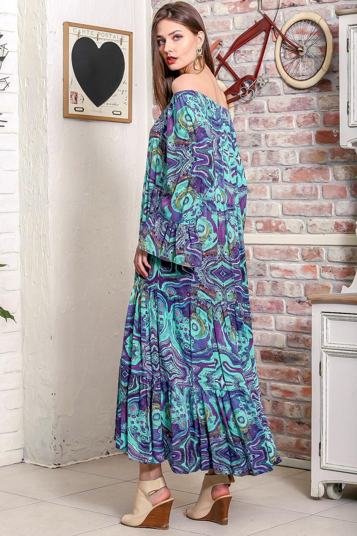 Chiccy Kadın Yeşil Carmen Yaka Sulu Boya Desenli Kol Ucu Volanlı Salaş Dokuma Elbise M10160000EL95906 4
