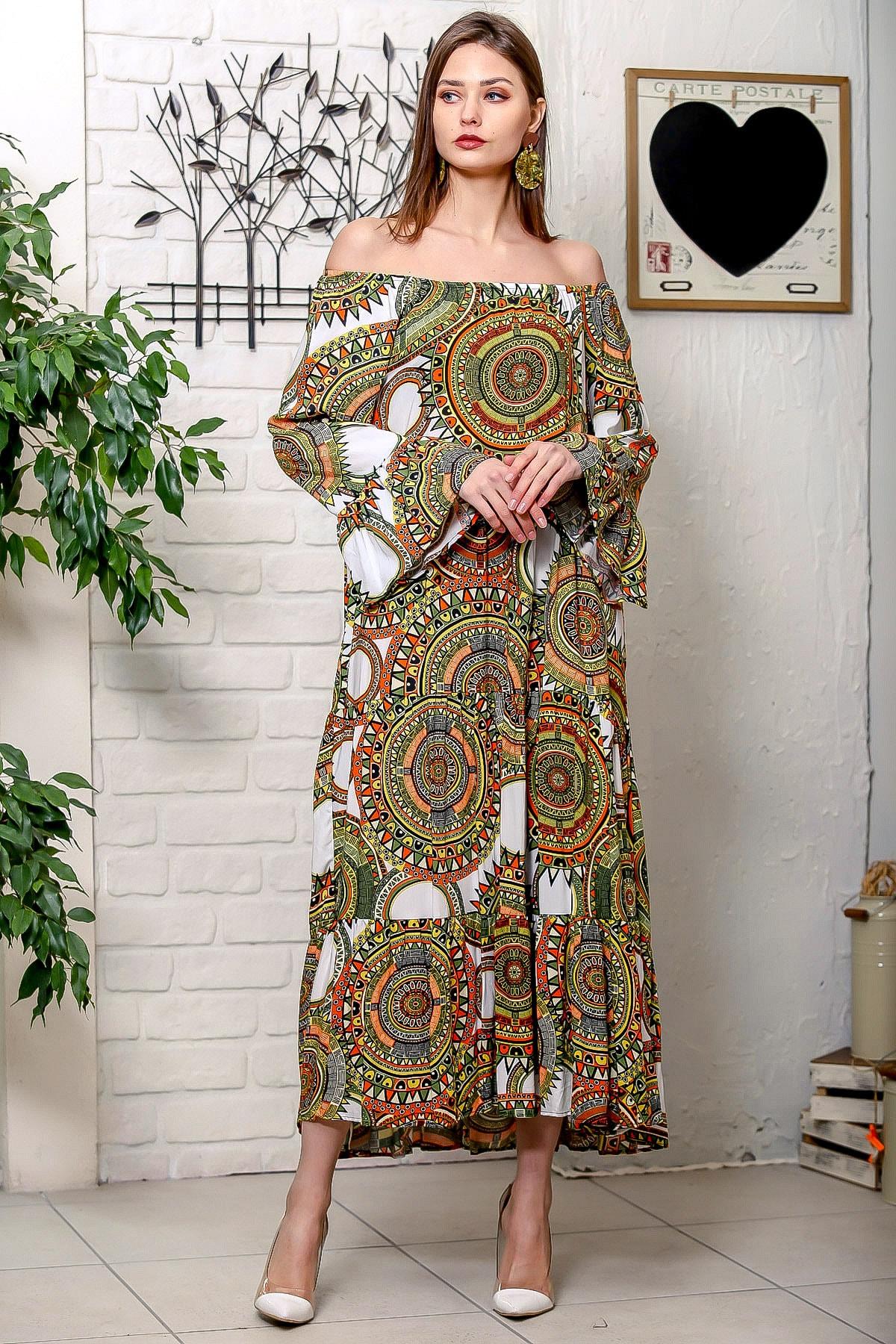 Chiccy Kadın Yeşil-Beyaz Carmen Yaka Geometrik Desenli Kol Ucu Volanlı Salaş Dokuma Elbise M10160000EL95906 1