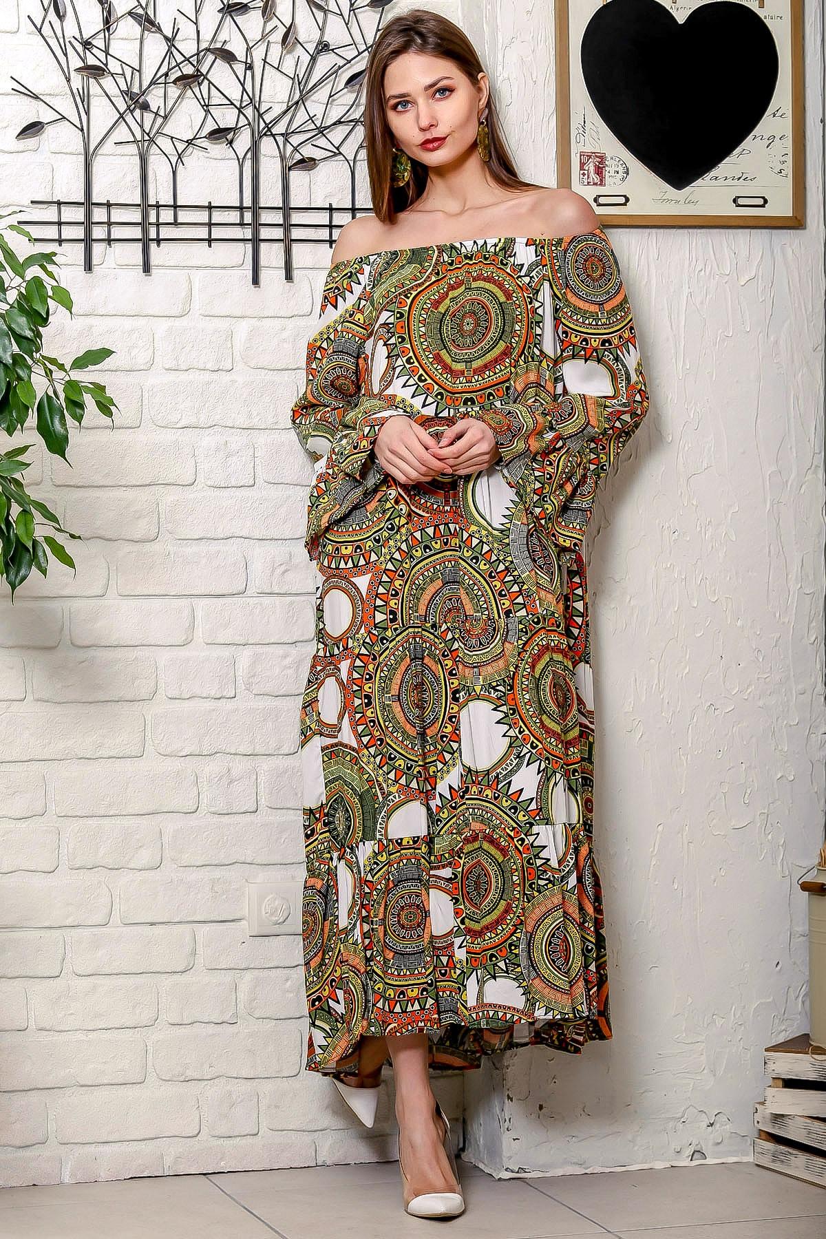 Chiccy Kadın Yeşil-Beyaz Carmen Yaka Geometrik Desenli Kol Ucu Volanlı Salaş Dokuma Elbise M10160000EL95906 2