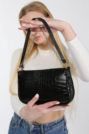 meyoubags Kadın Siyah Kroko Desen Baget Askılı Zincirli Omuz Çantası 3