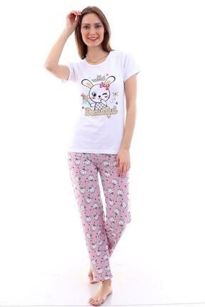 Moda Hitap Kadın Beyaz Tavşan Baskılı Pembe Kedili Pijama Takımı 1