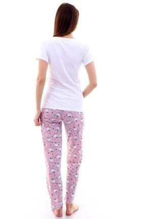Moda Hitap Kadın Beyaz Tavşan Baskılı Pembe Kedili Pijama Takımı 2