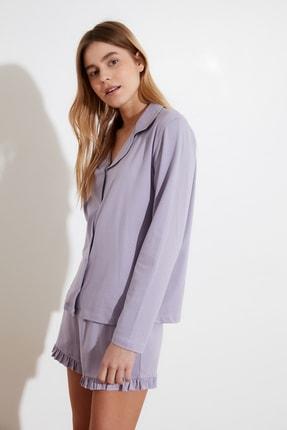 TRENDYOLMİLLA Lila Fırfır Detaylı Örme Pijama Takımı THMAW21PT0138 2