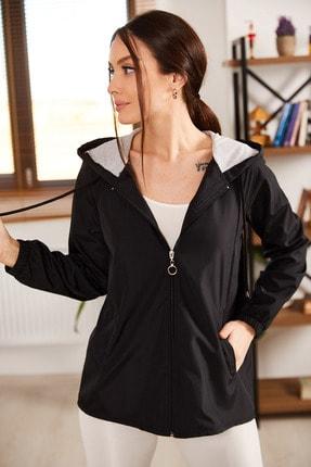 armonika Kadın Siyah Kapişonlu Önü Fermuarlı Cepli Astarli Yağmurluk ARM-21K083005 2