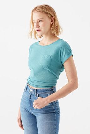 Mavi Cepli Yeşil Basic Tişört 2