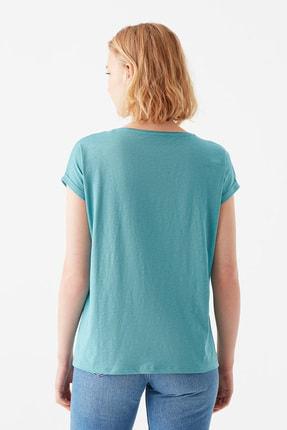 Mavi Cepli Yeşil Basic Tişört 4
