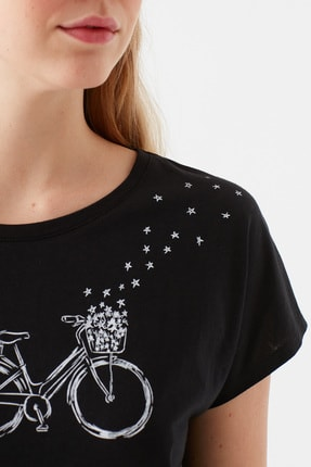 Mavi Bisiklet Baskılı Siyah Tişört 4
