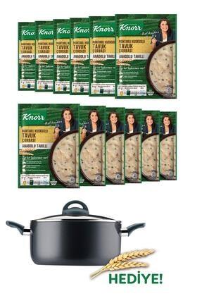Knorr Anadolu Tahılları Refika'dan Mantarlı Kuskuslu Tavuk Çorbası 75 g x12 Adet + Tencere Hediye 1