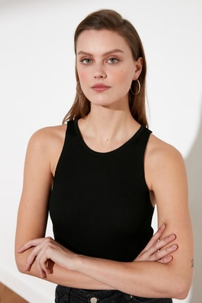 TRENDYOLMİLLA Siyah Fitilli Triko Bluz TWOSS21BZ0090 4