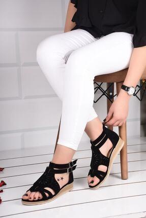 mihra home Kadın Siyah Süet Fermuarlı Sandalet Terlik 0
