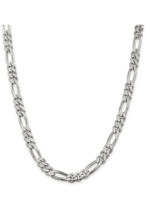 ENCİLİ SİLVER Erkek Encili Silver 925 Ayar Gümüş Figaro Zincir Kolye 0
