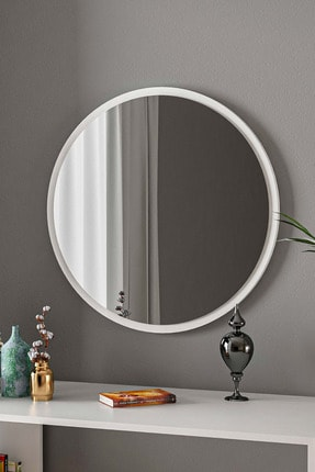 bluecape Yuvarlak Beyaz Duvar Salon Ofis Aynası 60cm 0