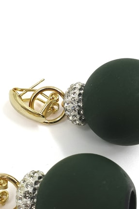 Marjin Kadın Yeşil Iri Toplu Taşlı Altın Renkli Küpeyeşil 2