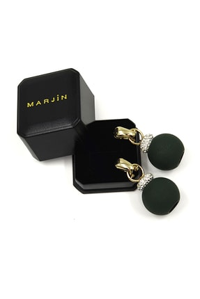 Marjin Kadın Yeşil Iri Toplu Taşlı Altın Renkli Küpeyeşil 3