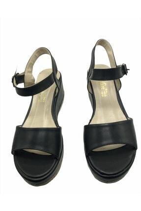 Polin Kadın Siyah Deri Kemer Model Dolgu Ayakkabı 1