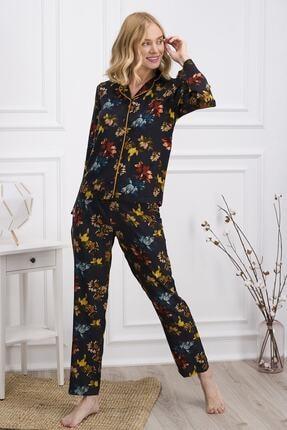Pierre Cardin Kadın Lacivert Uzun Kollu Gömlek Pijama 0