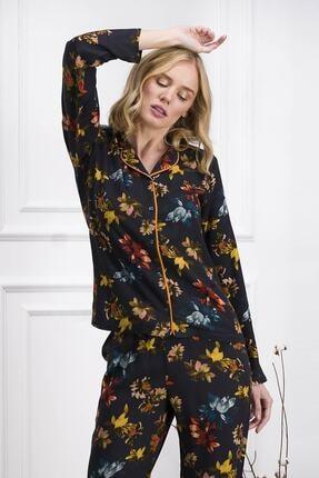 Pierre Cardin Kadın Lacivert Uzun Kollu Gömlek Pijama 1