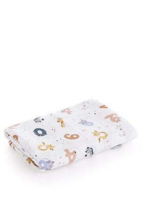 Caline Baby Müslin Bezi Örtü Sayı Desen - Kahve 120x120 Cm + 4 Adet Ağız Mendili 1