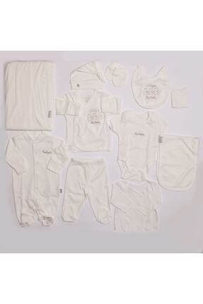 Pierre Cardin Unisex Bebek Ekru Lisanslı Organik 10 Parça Ayıcıklı Hastane Çıkış Seti 0