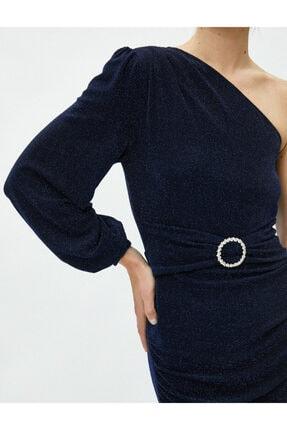 Koton Kadın Tek Omuz Elbise Abiye Metalik Kemer Detayli Kisa 4
