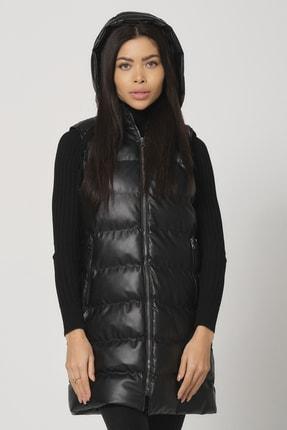 PIQUE Kadın Siyah Kapüşonlu Uzun Suni Deri Şişme Yelek Pera Kadın Şişme Uzun Yelek 3