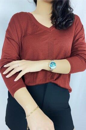 Kiremitrengi V Yaka Arka Baklava Dilimi Detaylı Merserize Bluz LPT2021000149