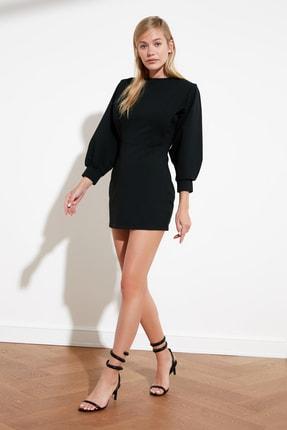 TRENDYOLMİLLA Siyah Sırt Bağlamalı Örme Elbise TWOSS21EL0484 1