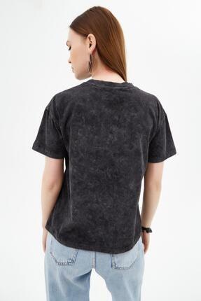 Pattaya Kadın Siyah Snoop'y Baskılı Kısa Kollu Örme T-Shirt P21s201-2097 3