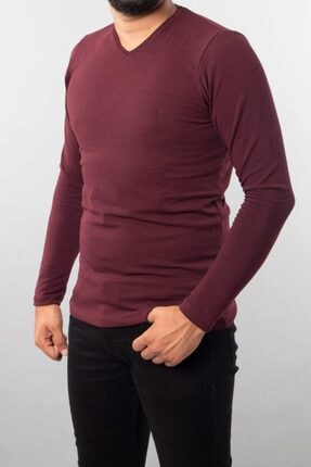 Fabregas Bordo V Yaka Pamuklu T-shirt 1