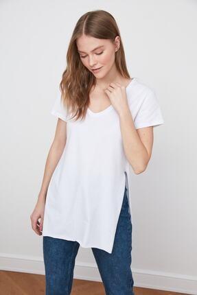 IŞILDA Kadın Yanları Yırtmaçlı Kısa Kol Basic Tshirt 0