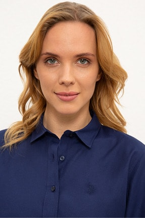 US Polo Assn Lacivert Kadın Dokuma Gömlek 1