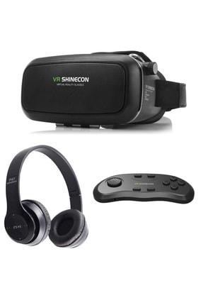 VR Shinecon Sanal Gerçeklik Gözlüğü Kumanda Ve Bluetooth Kulaklık Seti 0