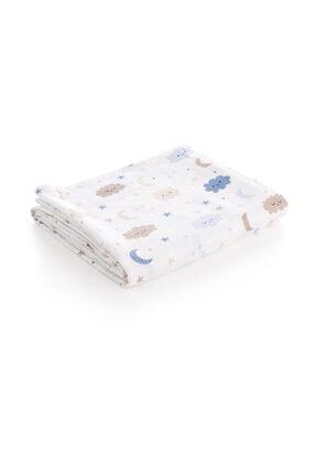 Caline Baby Mavi Bulut Desen Müslin Bezi Örtü 120x120 cm + 4 Adet Ağız Mendili 2